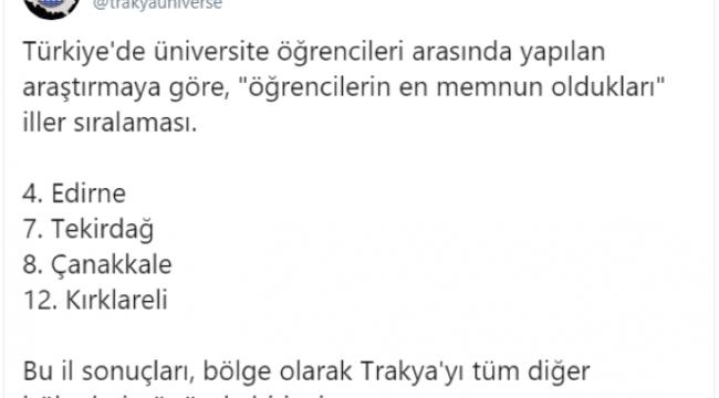 Trakya'da birinci Türkiye'de 4'üncüyüz