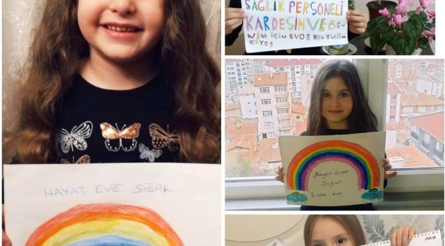 Sağlık çalışanlarının çocuklarından resimlerle