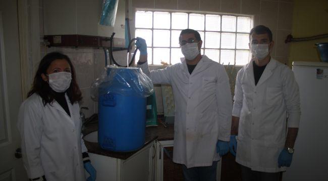 Dezenfektan üretimi için saf su hazırlanıyor
