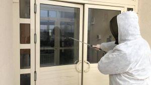 Süloğlu'nda apartmanlar dezenfekte edildi