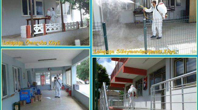 Lalapaşa ilçesine bağlı köylerde dezenfekte çalışmaları