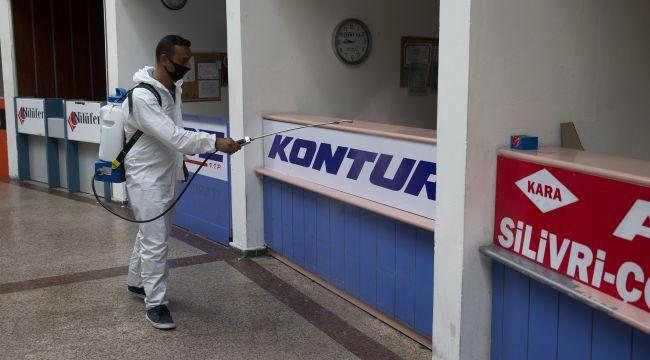 Şehirlerarası otobüs terminali dezenfekte edildi
