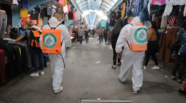 Ulus Pazarı dezenfekte edildi
