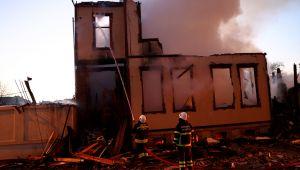Müftülük binası yangında kül oldu