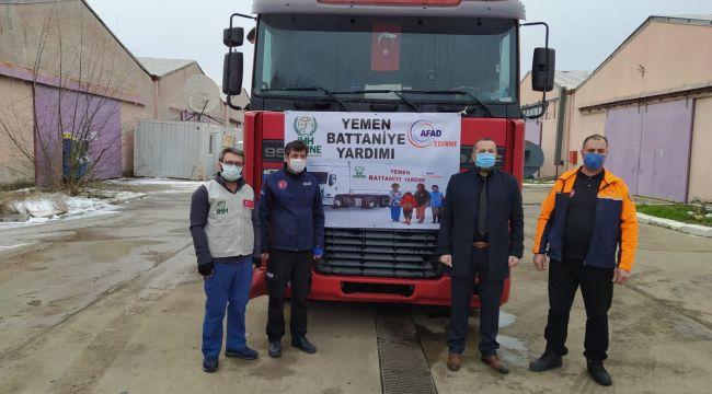 Edirne'den Yemen'e 2 tır battaniye yardımı