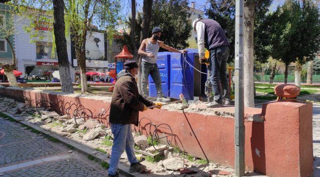 Polis parkının duvarları yeniden şekillenecek
