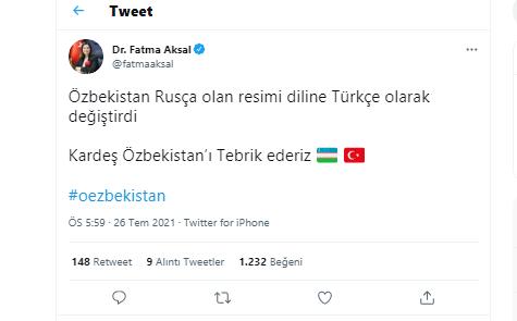 Özbekistan'a ilk tebrik Aksal'dan