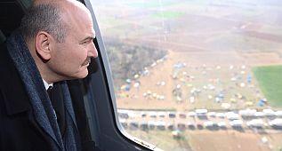 Bakan Soylu, Türkiye-Yunanistan sınırını havadan inceledi